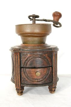 Green Coffee Grinder Wood /& Metal Coffee Grinder Grand M\u00e8re French Kitchen Vintage French Coffee Grinder French Decor