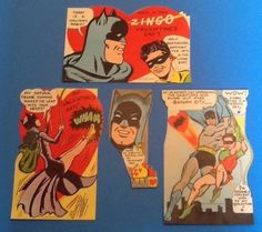 Vintage Original 1966 BatMan, Robin, CatWoman, Valentine's Day Cards Made in USA by TreasureTrov952 on Etsy