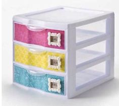 Cute organization storage idea - scrapbook paper with Mod Melts and Frames for drawer labeling