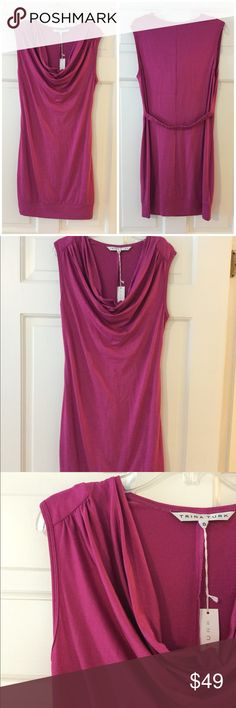 """🆕 Trina Turk Pierson jersey dress 90% Viscose/10% Elasthane  Dry Clean Only  Solid jersey  Drape neck  Elastic belt at back  Sleeveless  Underarm across 19"""". Length 38"""".  Brand new with tag.  Smoke free and pet free. Trina Turk Dresses"""