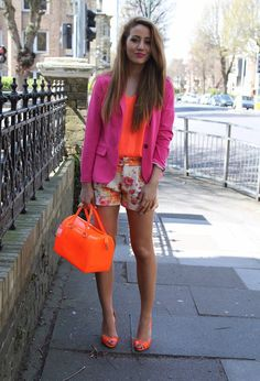 @roressclothes closet ideas #women fashion outfit #clothing style apparel Orange Outfit with Pink Blazer
