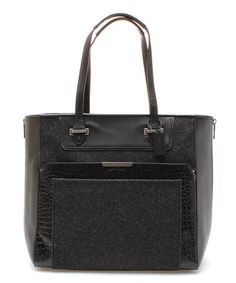 Love this Black Taylor Crocodile Embossed Wool Tote by Coach on #zulily! #zulilyfinds