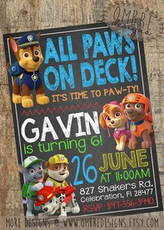 Paw Patrol Invitation, Paw Patriol Birthday, Paw Patrol Party, Paw Patrol Invite, Paw Patrol, Skye, Puppy, Birthday, Invites