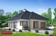 Projekt domu Lancet II , wizualizacja 1 Modern Bungalow House, Modern House Design, House Architecture Styles, Home Fashion, Provence, House Plans, New Homes, House Styles, Outdoor Decor