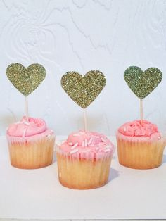 24 Silver Metallic Heart mini Cupcake Toppers | Food Picks | Birthday, Baby shower, birthday, wedding, Party by ADreamPaperie on Etsy https://www.etsy.com/listing/485904247/24-silver-metallic-heart-mini-cupcake