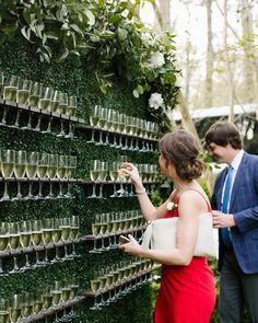 Champagne wall Living wall Boxwood wall Signature drink display Interactive cocktail hour Garden wedding inspiration North House Home and Garden New Orleans wedding NOLA. Wedding Goals, Our Wedding, Dream Wedding, Spring Wedding, Wedding Lounge, Wedding Reception Drinks, Wedding Dress Guest, Luxury Wedding, Wedding Favors