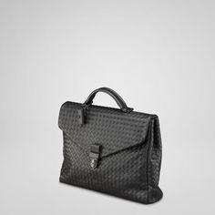 Bottega Veneta Men's Bags Collection: Nero Intrecciato VN Briefcase