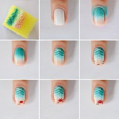 The advantage of the gel is that it allows you to enjoy your French manicure for a long time. There are four different ways to make a French manicure on gel nails. Spring Nail Art, Spring Nails, Plage Nail Art, Trendy Nails, Cute Nails, Nail Art Designs, Beach Nail Art, Beach Art, Uñas Fashion