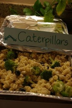 Caterpillar pasta for bug party