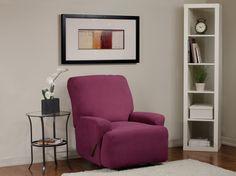 Diamond Stretch Merlot Recliner Slipcover. Deeply embossed diamond pattern upholstery, merlot form fit slip cover design, living room, beautiful, deep red home decor