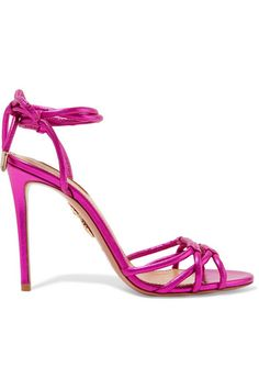 Heel measures approximately 105mm/ 4 inches Magenta leather Ties at ankle Designer color: Azalea Pink Made in Italy As seen in The EDIT magazine