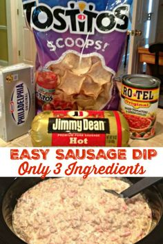 Easy Sausage Dip (Only 3 Ingredients) HOT & SPICY SAUSAGE DIP - Only 3 Ingredients - Cream cheese, sausage and rotel! This awesome dip gets devoured, a party favorite! Sausage Cream Cheese Dip, Hot Sausage, Spicy Sausage, Sausage Queso Dip, Recipe Using Pork Sausage, Dips With Cream Cheese, Rotel Cheese Dip, Chili Cheese Dips, Sausage Recipes