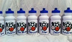Personalized kids sports bottles for party favors on Etsy, $9.00