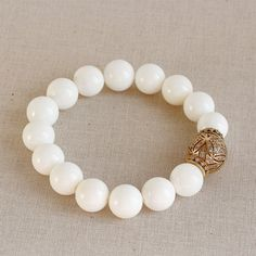 White Sea Shell Beaded Bracelet Luxury Cz Pave Ball by TheGoosle
