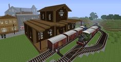 minecraft small train station - Google Search