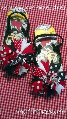 make your own Disney flip flops, flip flops, Mickey Mouse flip flops
