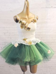 Adult tutu dress ivory and green sexy fairy costume by TutuHot