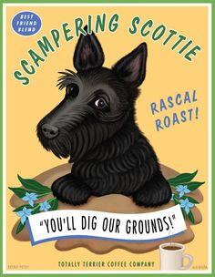 Black Scottish Terrier - Scampering Scottie - 8x10 Art Print - Fun!! 20