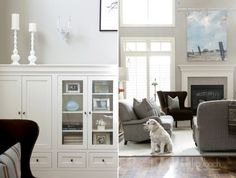 living room - grey pet friendly couches <3 The white on the walls makes the room look bigger. The grey hides stains.