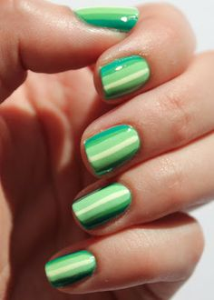 Green ombre stripes nail art with Essie Mojito Madness and Mint Candy Apple