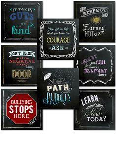 Classroom Character Set. Fun Chalkboard Mini Inspirational Quote Posters - Echo-Lit