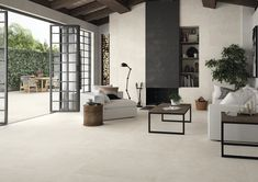 Concrete effect tiles: a living room at the top of trends - Trend Home Sheshed 2019 Flooring Near Me, Hall Flooring, Diy Sofa, Wall And Floor Tiles, Wall Tile, Outdoor Walls, Indoor Outdoor, Modern House Design, New Homes