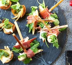 Serrano-wrapped pear with goat's cheese: These canapés look fancy, but are incredibly easy to assemble, and look lovely as part of a sharing platter or party nibble