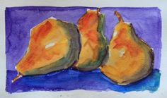 Watercolour : Still life with pears