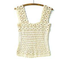 Vintage Crochet Sweater Vest Medium by marybethhale on Etsy, $46.00