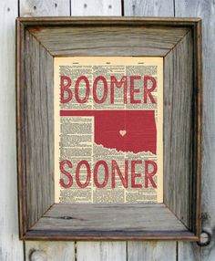 Hey, I found this really awesome Etsy listing at https://www.etsy.com/listing/207032266/oklahoma-sooner-dictionary-art-print
