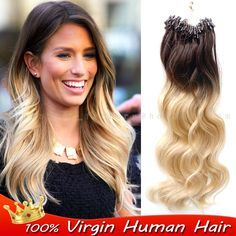 Grade Brazilian Ombre Remy Micro Ring Loop Hoop Real Natural People Hair Extension Beads Tip Color (Mainland)) Micro Loop Hair Extensions, Types Of Hair Extensions, 100 Human Hair Extensions, Clip In Hair Extensions, Natural Hair Styles, Short Hair Styles, Brown To Blonde, Hair Care Tips, Hair Highlights