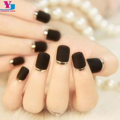 24Pcs/Set Matte Black Silver Metallic French False Nails #nailstyles #PedicureIdeas