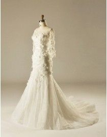 Gorgeous jewel neckline floral appliques spring wedding dresses bloom flowers pearls embellishment lace mermaid skirt long sleeves 5W-328