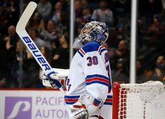 New York Rangers goalie Henrik Lundqvist, of Sweden, reacts after giving up a goal to Colorado Avalanche center Nathan MacKinnon in the first period of an NHL hockey game Friday, Nov. 6, 2015, in Denver. (AP Photo/David Zalubowski)