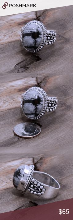 """‼️Clearance‼️Sterling Silver & Onyx Ring Stamped """"925 MA-136"""". Manufacturers ID. Stone has natural cracks and inclusions.  This is not a stock photo. The image is of the actual article that is being sold  Sterling silver is an alloy of silver containing 92.5% by mass of silver and 7.5% by mass of other metals, usually copper. The sterling silver standard has a minimum millesimal fineness of 925.  All my jewelry is solid sterling silver. I do not plate.   Hand crafted in Taxco, Mexico.  Will…"""