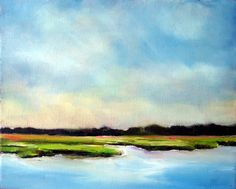 "Nancy Hughes Miller - Coastal Carolina Landscape Painting ""Waterway Marsh, Sunset Beach, NC"" 8x10 original oil"
