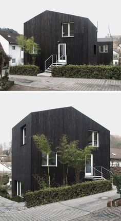 House Exterior Colors – 14 Modern Black Houses From Around The World | Two small black wood clad buildings make up this unique single family home.