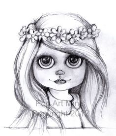 I've been trying to do a sketch a day this past week and was inspired by big eye Blythe dolls !   Their big eyes and waif like look just ...