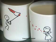 """BOLDLOFT """"Catch My Love"""" His and Hers Couples Coffee Mugs-Cute ..."""