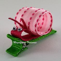 Pink Snail Ribbon Sculpture Hair Clip by Magnificence on Etsy, $3.50