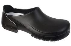 Alpro A 630 Black Polyurethane This sleek clog designed by an Italian designer lets you work hard in style and comfort. Polyurethane surface is tough and durable, stain resistant and easily cleanable. Cork footbed has anatomic arch support and is washable. #birkenstock #birkenstockexpress.com  $85