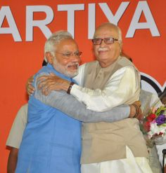 Senior BJP Lal Krishna Advani warmly  welcomed BJP Prime Ministerial Candidate Narendra Modi after the Parliamentary meeting organized at party head quarter in Delhi. He arrived Delhi first time after the land slide victory of party under his leadership.