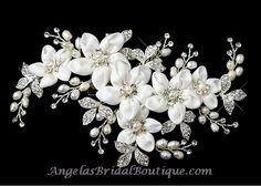 Love Love Love It Pearl Rhinestone Satin Flower Wedding Hair Clip