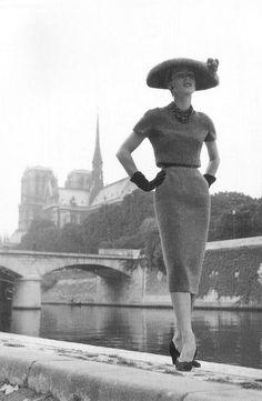 "hollyhocksandtulips: "" Christian Dior design, 1955 """