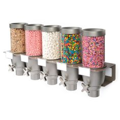 Shop Rosseto EZ-SERV Liter Triple Canister Wall-Mounted Topping / Candy Dispenser - 17 inch x 7 inch x 15 inch. Candy Dispenser, Cereal Dispenser, Acrylic Containers, Candy Containers, Kinds Of Cereal, Top Candy, Salad Toppings, Nostalgic Candy, Sandwich Bar