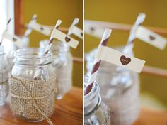 Party Theme: Rustic Couples Shower - Mason Jar Drinks with striped straws