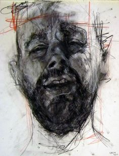 Male Portrait, Charcoal and Ink Line Drawing, by C Kirk. Life Drawing, Figure Drawing, Drawing Sketches, Art Drawings, Portraits, Portrait Art, Pastel Drawing, Painting & Drawing, Jenny Saville Paintings