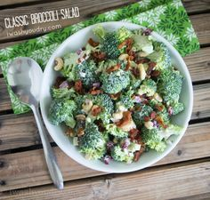 Classic Broccoli Salad Recipe with bacon, cashews and the most amazing creamy sauce to combine it all together!