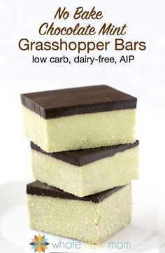 These Grasshopper Bars are great in so many ways – they're chocolate mint bars that taste like thin mint or grasshopper cookies – the perfect flavor combo! They're also low carb, grain-free, AIP compliant, and vegan – so many real food attributes & healthy ingredients that they're really good for you! Recipe by @wholenewmom