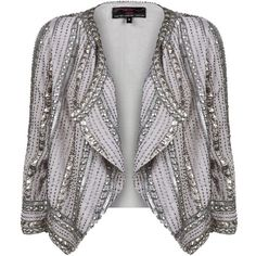 Silver and Grey Embellished Crop Waterfall Jacket ($41) ❤ liked on Polyvore featuring outerwear, jackets, blazers, tops, blazer jacket, embellished blazer, grey blazer, cropped blazer jacket and waterfall jacket